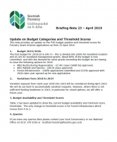 Briefing Note 23: Update on Budget Categories and Threshold Scores